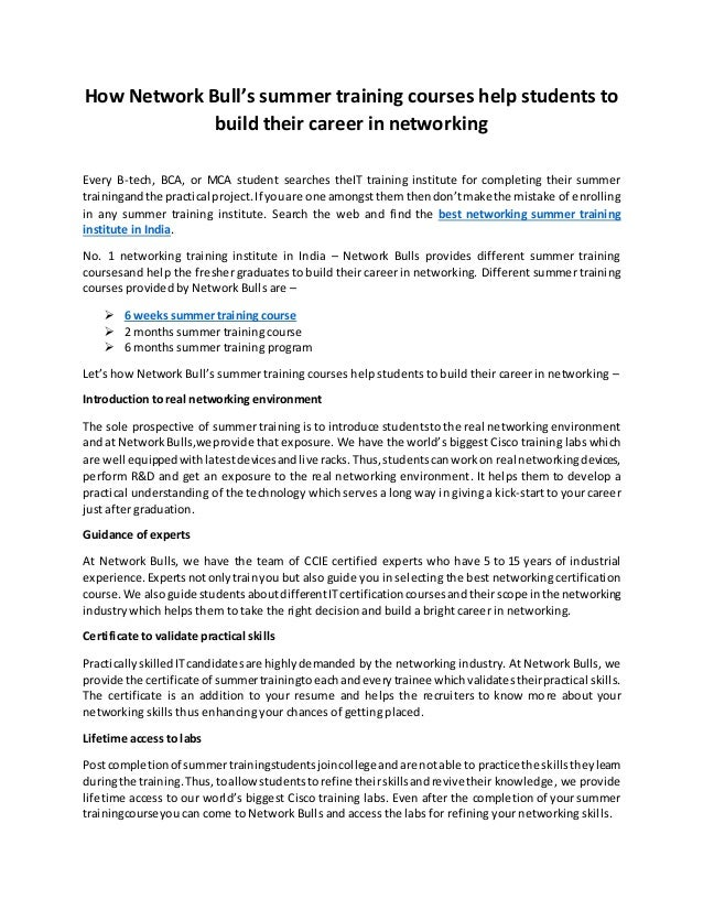 How Network Bulls Summer Training Courses Help Students To Build The