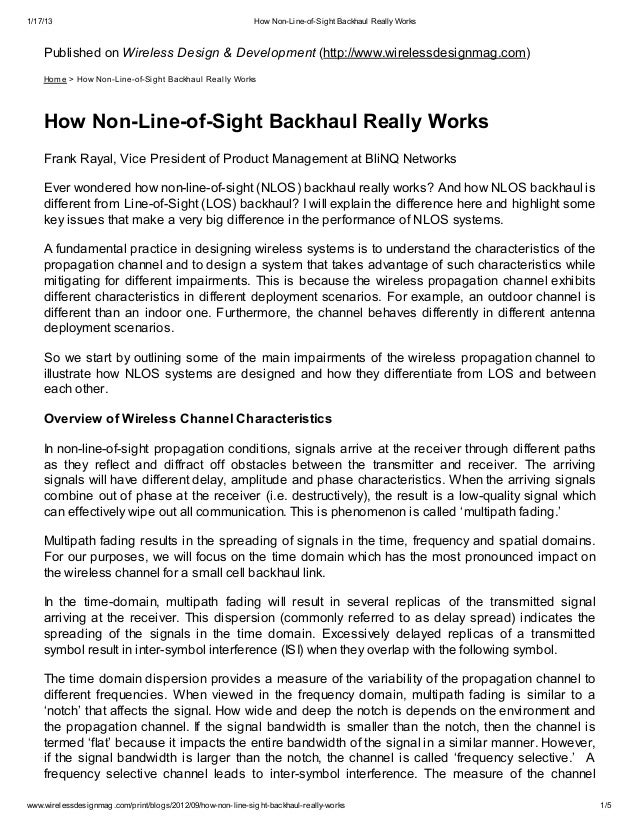 1/17/13                                                      How Non-Line-of-Sight Backhaul Really Works    Published on W...
