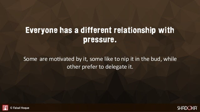 Everyone has a different relationship with pressure. Some are mo2vated by it, some like to nip it in the bud, while other ...
