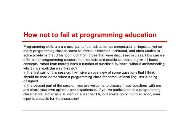 Programming skills are a crucial part of our education as computational linguists, yet so many programming classes leave s...