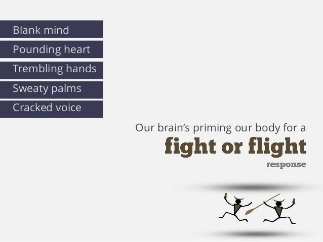 Our brain's priming our body for a Blank mind Pounding heart Trembling hands Sweaty palms Cracked voice