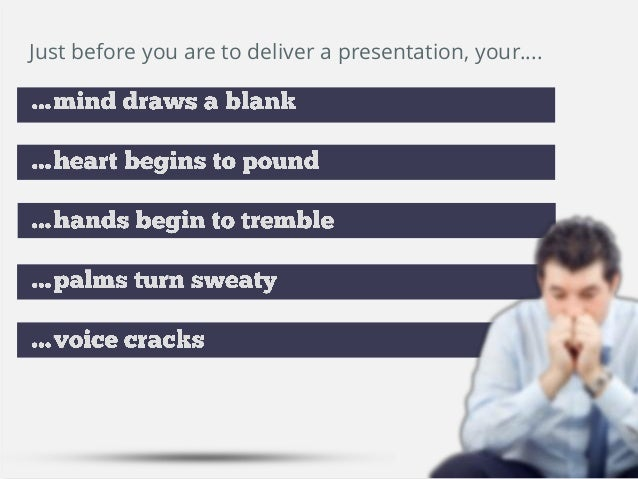 Just before you are to deliver a presentation, your….