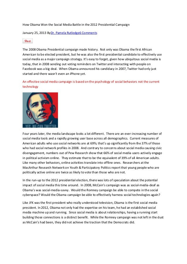 How Obama Won the Social Media Battle in the 2012 Presidential Campaign January 25, 2013 ByDr. Pamela Rutledge6 Comments  ...