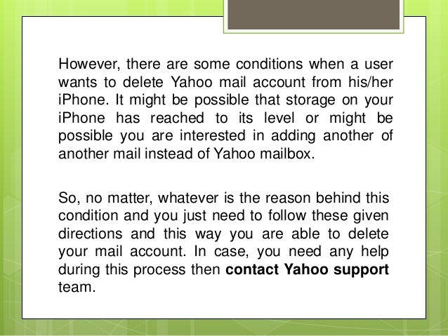 How one can Remove Yahoo Mail Account from iPhone?