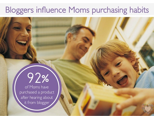 Bloggers influence Moms purchasing habits!of Moms havepurchased a productafter hearing about !it from blogger!92%