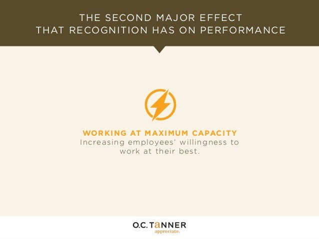 THE SECOND MAJOR EFFECT THAT RECOGNITION HAS ON PERFORMANCE  WO R K IN G AT MAXI MUM CAPACI TY In creasin g emp loyees' wi...