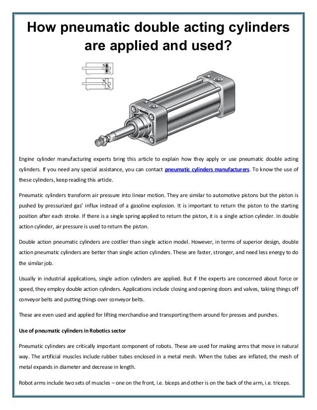 Acting and single cylinder cylinder double acting Single