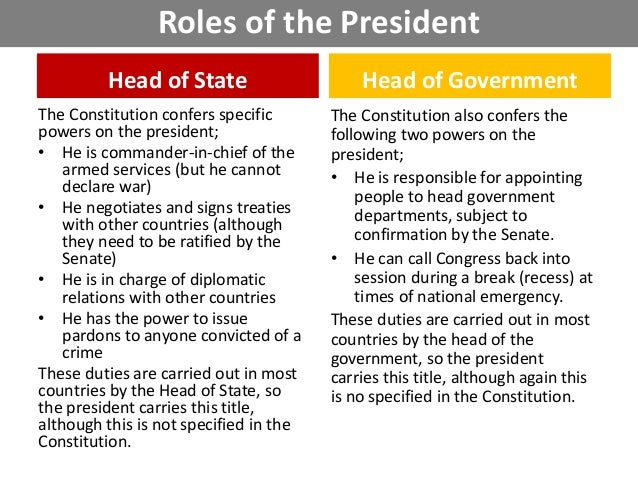 the role of the president of the Chief of state, commander in chief, chief of diplomat, chief executive, chief legislature, chief of party, and chief guardian of the economy.