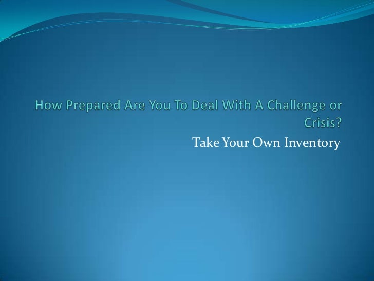 Take Your Own Inventory