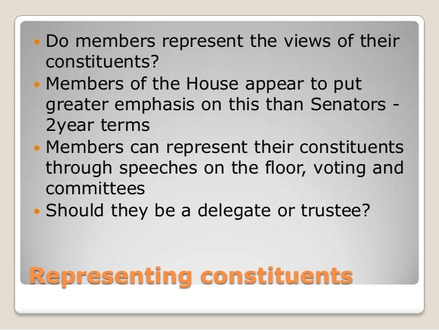 an analysis of the elected representatives which represents the views of their constituents America is not a democracy  in which legislators knowingly sacrifice their constituents' interests to stay on the right  come to share their views.