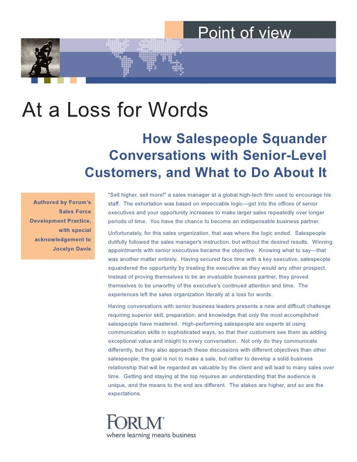 Point of view    At a Loss for Words                          How Salespeople Squander                      Conversations ...
