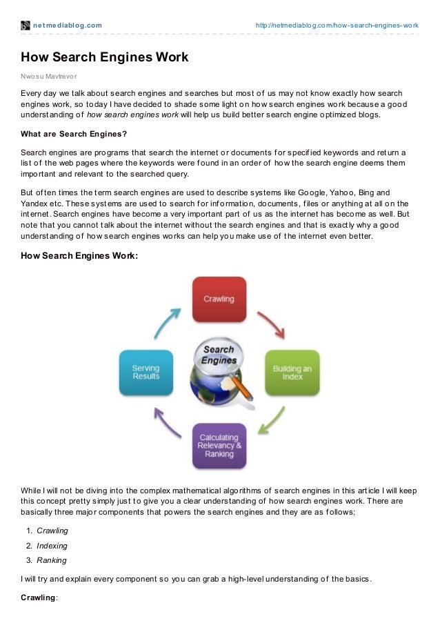 net mediablog.com http://netmediablog.com/how-search-engines-work Nwosu Mavtrevor How Search Engines Work Every day we tal...