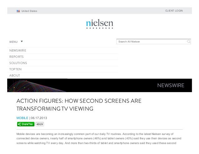 CLIENT LOGIN  United States  MENU  Search All Nielsen  NEWSWIRE REPORTS SOLUTIONS TOPTEN ABOUT  NEWSWIRE  ACTION FIGURES: ...