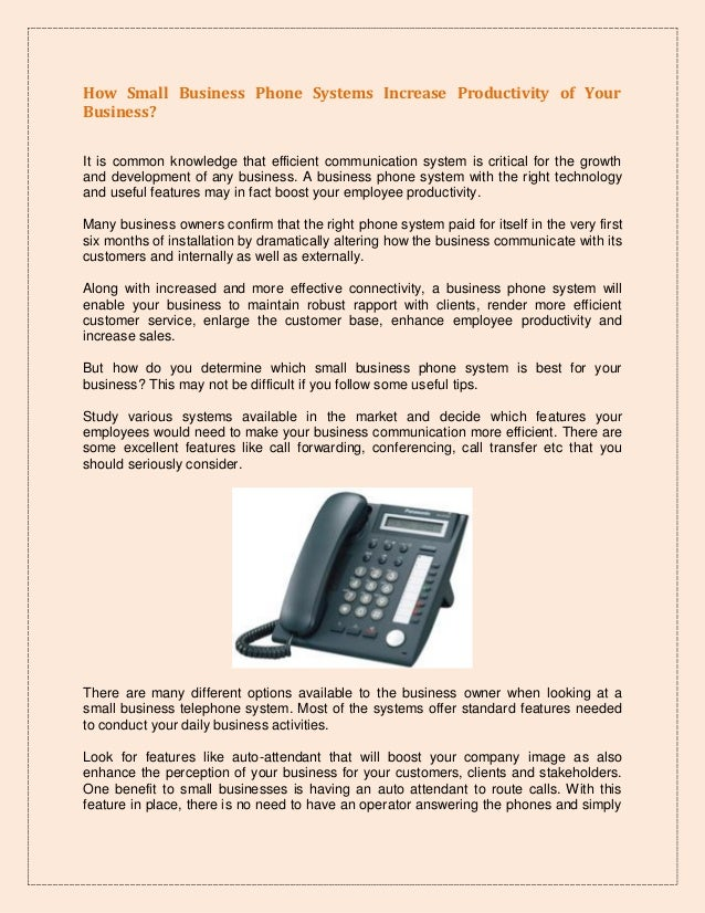 How Small Business Phone Systems Increase Productivity Of Your Busine