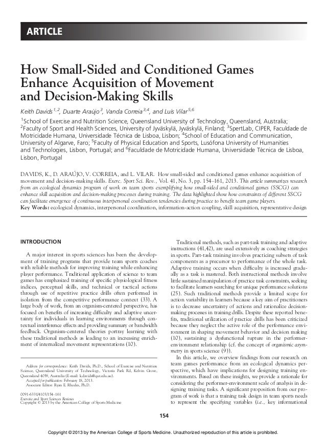How Small Sided And Conditioned Games Enhance Acquisition Of Movement