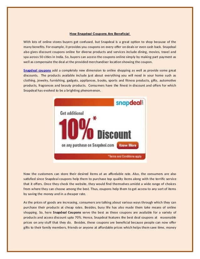 COUPON CODES FOR SNAPDEAL