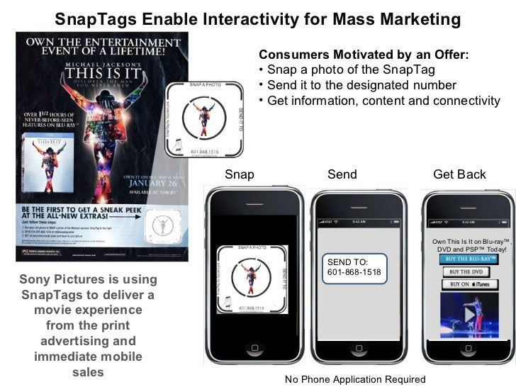 SnapTags Enable Interactivity for Mass Marketing Sony Pictures is using SnapTags to deliver a movie experience from the pr...