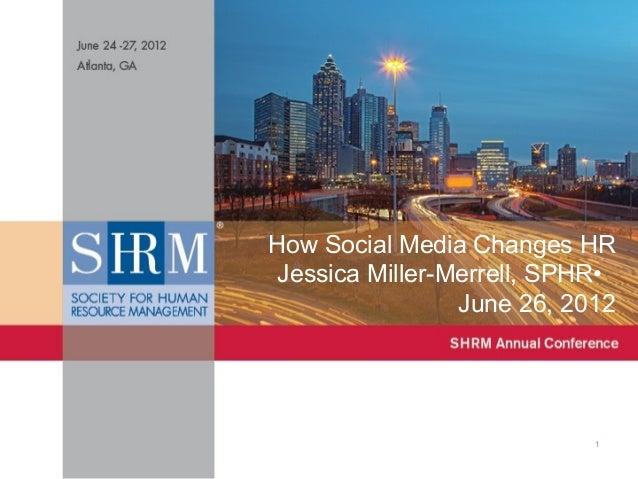 How Social Media Changes HR Jessica Miller-Merrell, SPHR• June 26, 2012  #socialHR  1