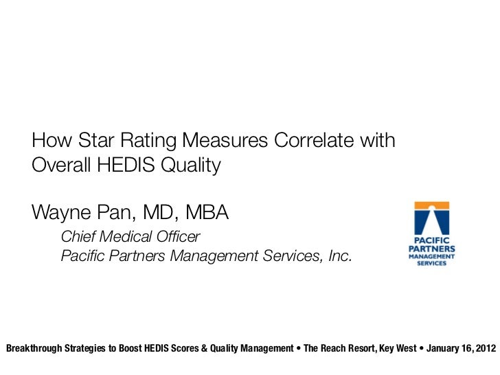 How Star Rating Measures Correlate with     Overall HEDIS Quality     Wayne Pan, MD, MBA            Chief Medical Officer  ...