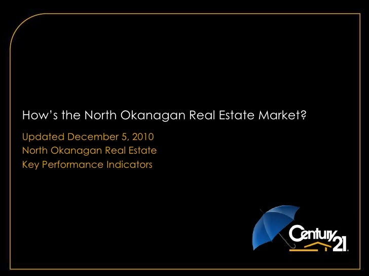 How's the North Okanagan Real Estate Market? <br />Updated December 5, 2010<br />North Okanagan Real Estate<br />Key Perfo...
