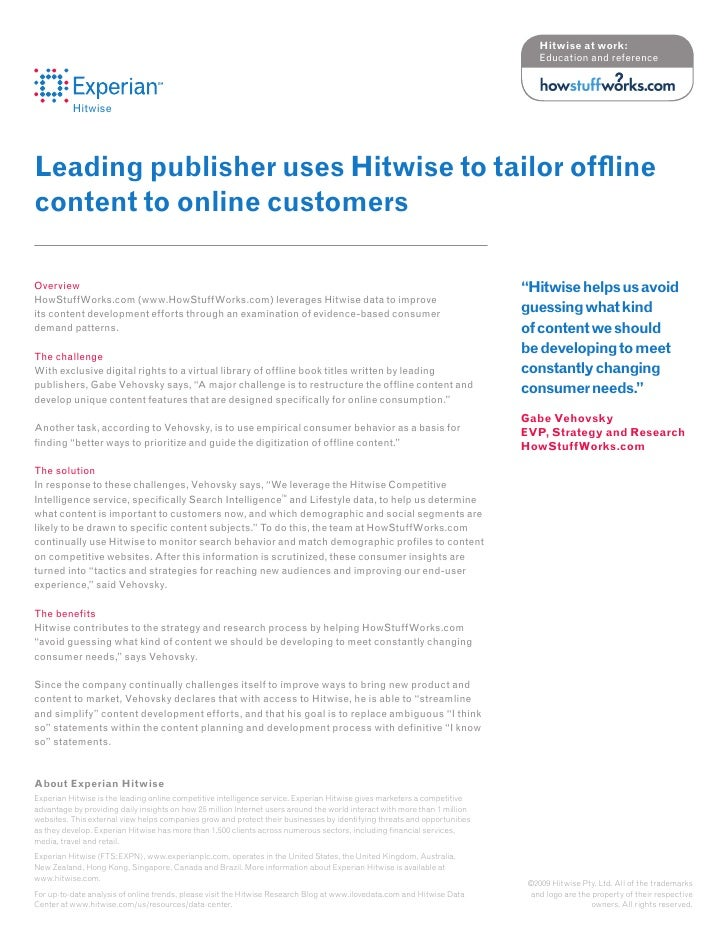 Hitwise at work:                                                                                                          ...