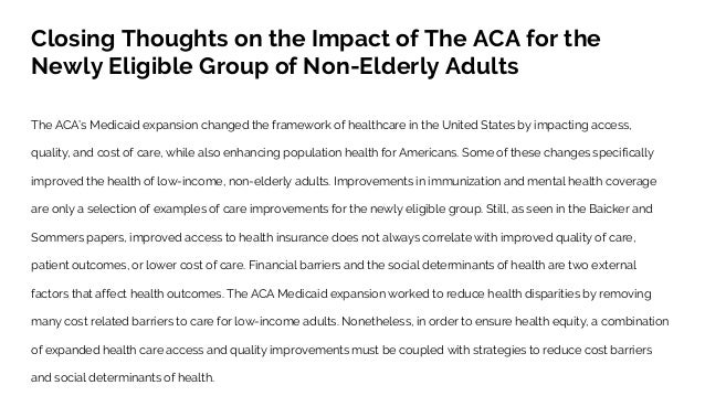 How The Affordable Care Act Aca And Medicaid Expansion Impacted Acc