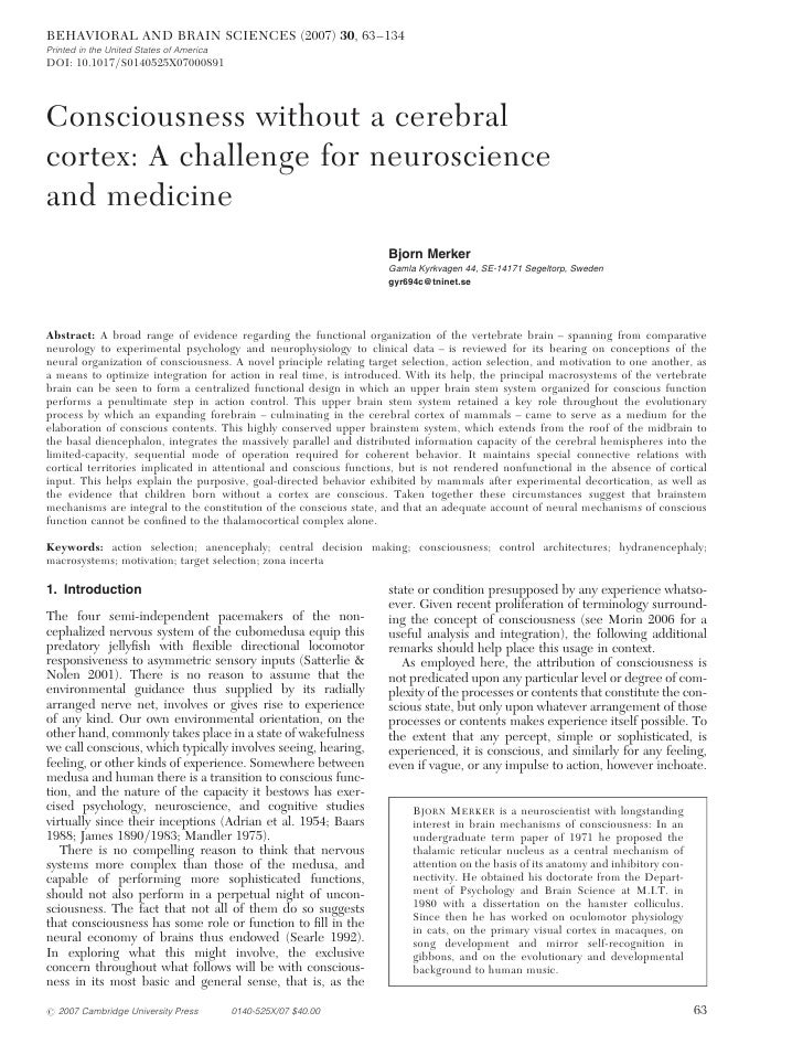 BEHAVIORAL AND BRAIN SCIENCES (2007) 30, 63 –134Printed in the United States of AmericaDOI: 10.1017/S0140525X07000891Consc...