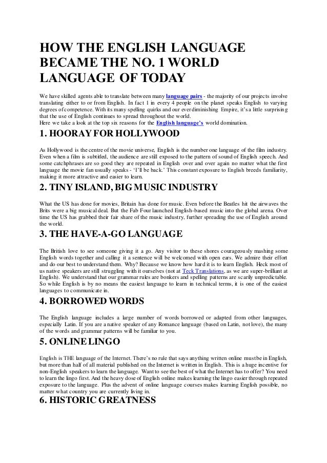 How The English Language Became The No World Language Of Today - World no 1 language