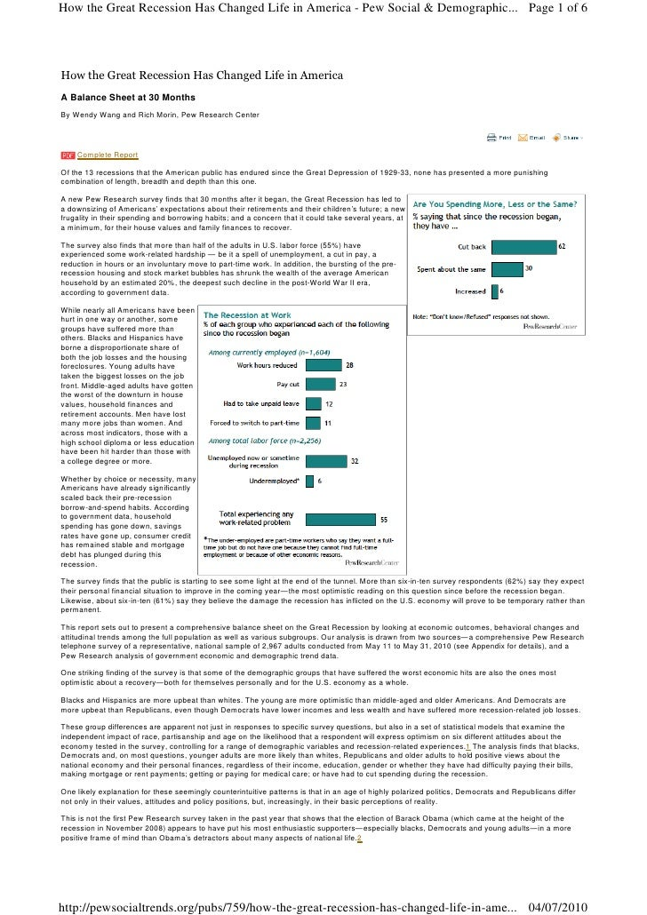 How the Great Recession Has Changed Life in America - Pew Social & Demographic... Page 1 of 6     How the Great Recession ...
