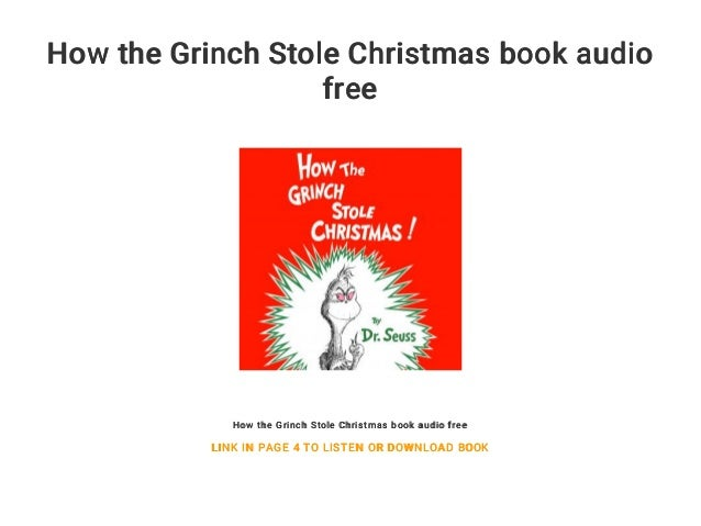 The Grinch Who Stole Christmas Book.How The Grinch Stole Christmas Book Audio Free