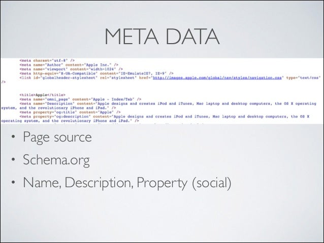 META DATA  •  Page source   •  Schema.org    •  Name, Description, Property (social)