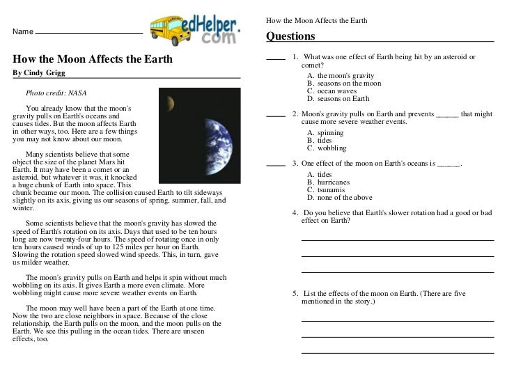 How the Moon Affects the EarthName                                                                           QuestionsHow ...