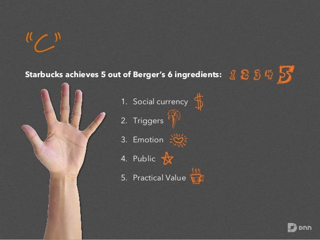 """""""C"""" Starbucks achieves 5 out of Berger's 6 ingredients: 1. Social currency 2. Triggers 3. Emotion 4. Public 5. Practi..."""