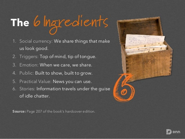 The 6 Ingredients 1. Social currency: We share things that make us look good. 2. Triggers: Top of mind, tip of tongue. 3...