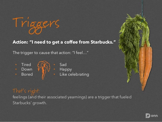"""Triggers Action: """"I need to get a coffee from Starbucks."""" The trigger to cause that action: """"I feel…"""" • • •  Tired Down..."""