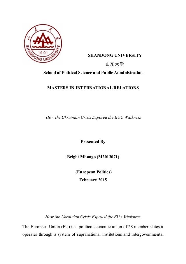 SHANDONG UNIVERSITY 山东大学 School of Political Science and Public Administration MASTERS IN INTERNATIONAL RELATIONS How the ...