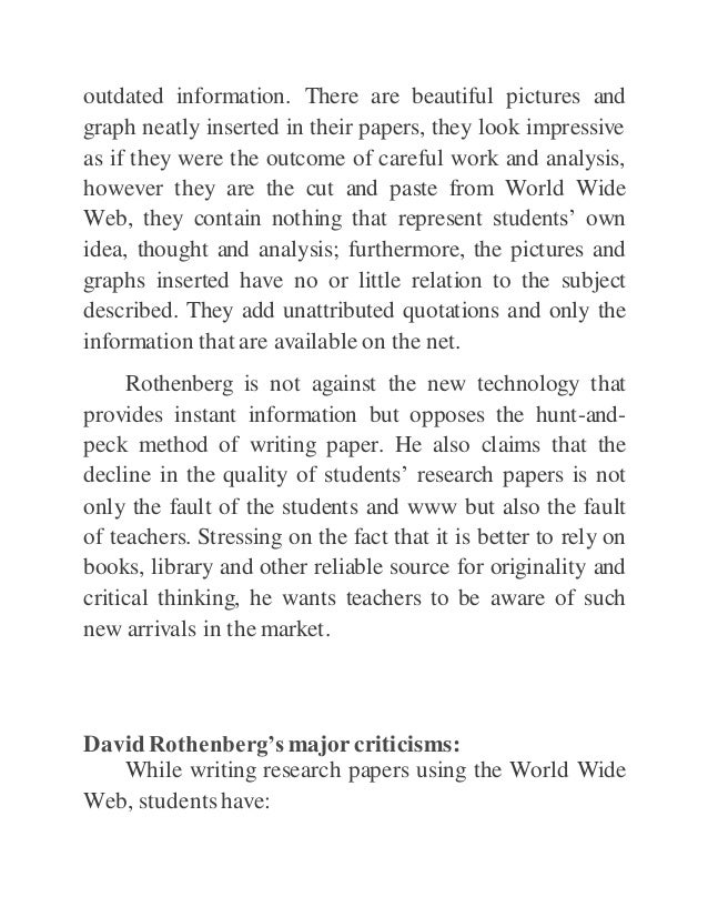 web destroys student research papers 36% have students edit or revise their own work and 29% have students edit others' work using collaborative web research paper during the 2011 students.