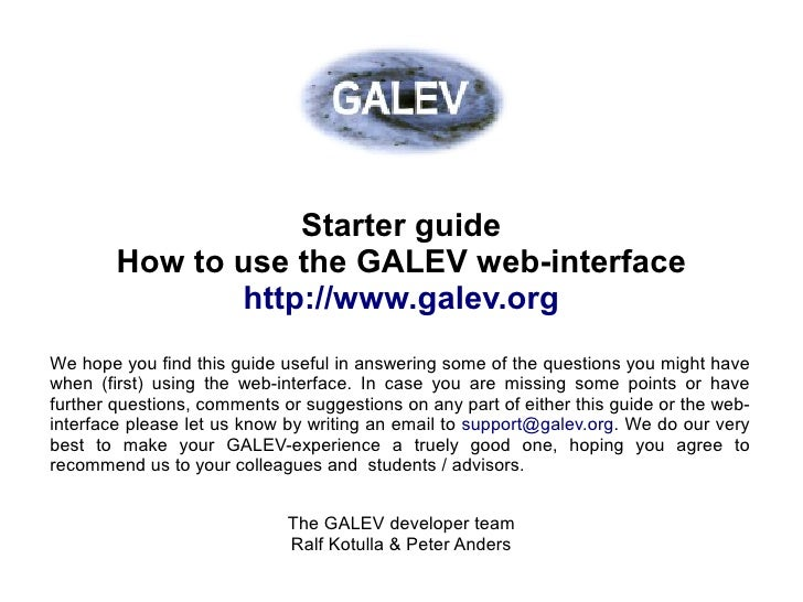 Getting started guide to run GALEV models over the web                        Starter guide         How to use the GALEV w...
