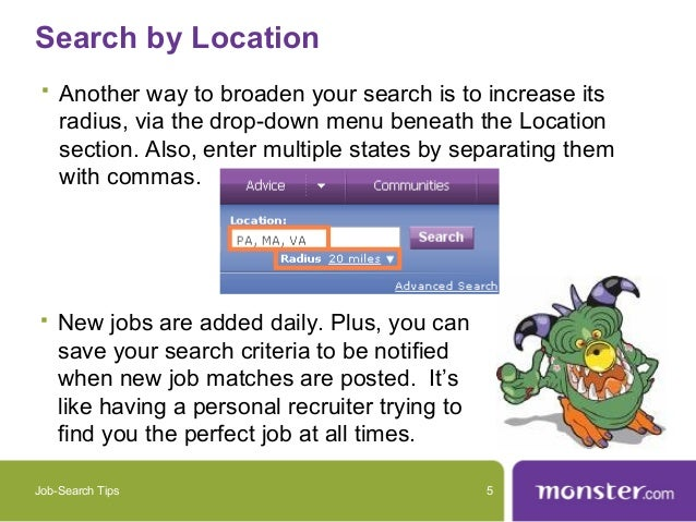 Job Search Tips 4; 5. Search .