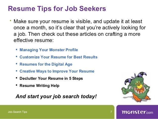 Resume Tips ...  Monster Resume Tips