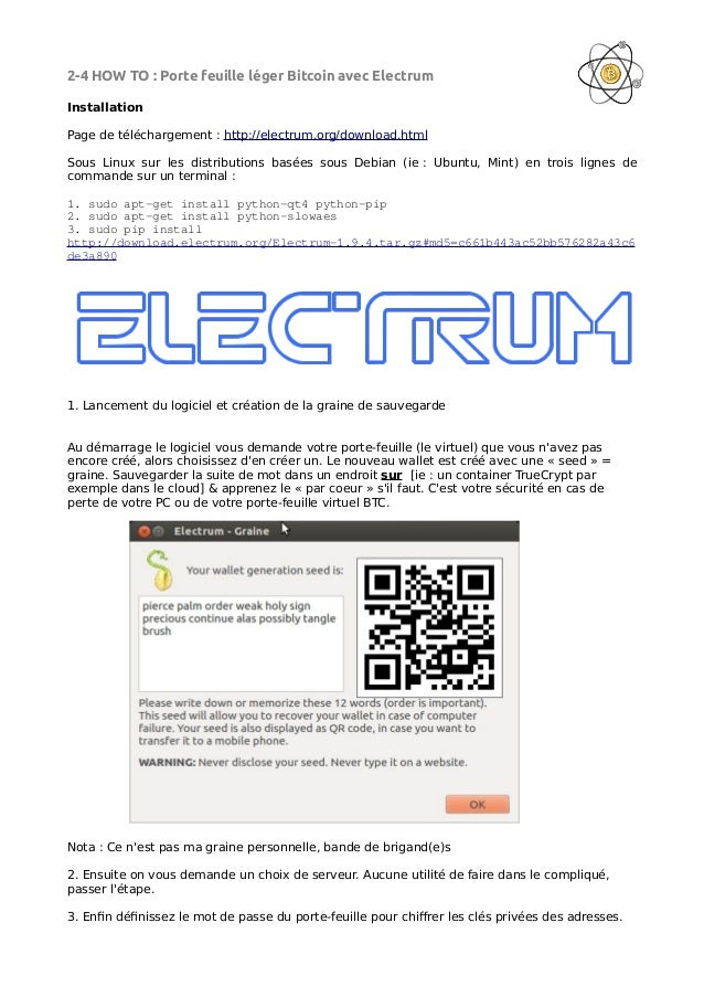 Howto Bitcoin, Configurer un porte-feuille léger Electrum Slide 2