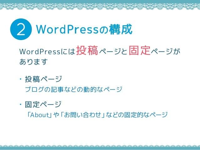 ・投稿ページ ブログの記事などの動的なページ ・固定ページ 「About」や「お問い合わせ」などの固定的なページ WordPressの構成2 WordPressには投稿ページと固定ページが あります
