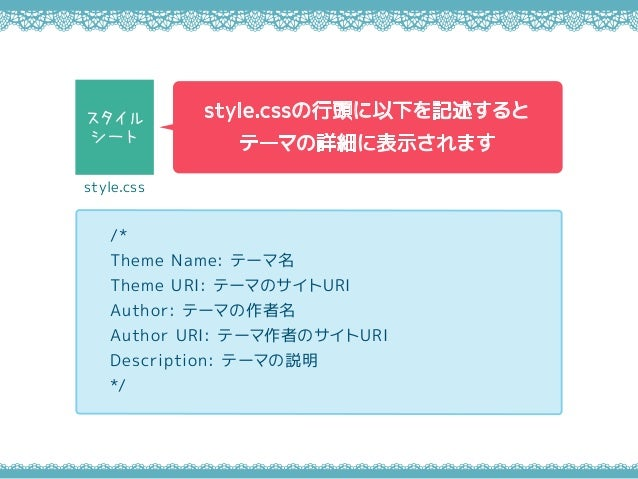 /* Theme Name: テーマ名 Theme URI: テーマのサイトURI Author: テーマの作者名 Author URI: テーマ作者のサイトURI Description: テーマの説明 */ style.cssの行頭に以下を...