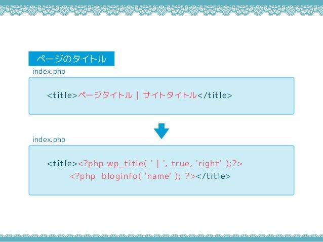 index.php ページのタイトル index.php <title>ページタイトル   サイトタイトル</title> <title><?php wp_title( '   ', true, 'right' );?> <?php blogi...