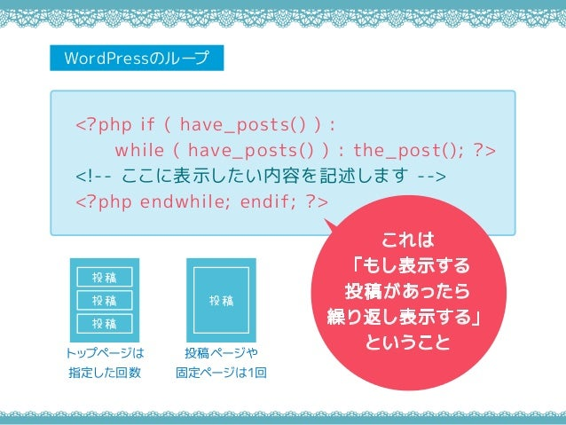 <?php if ( have_posts() ) : while ( have_posts() ) : the_post(); ?> <!-- ここに表示したい内容を記述します --> <?php endwhile; endif; ?> Wo...