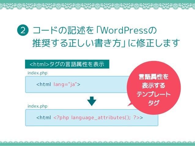 """コードの記述を「WordPressの 推奨する正しい書き方」に修正します 2 <html>タグの言語属性を表示 <html lang=""""ja""""> index.php <html <?php language_attributes(); ?>> ..."""