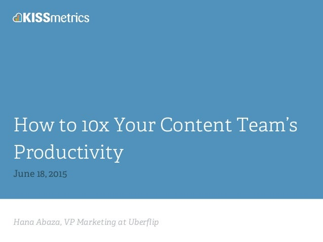 Hana Abaza, VP Marketing at Uberflip How to 10x Your Content Team's Productivity June 18, 2015