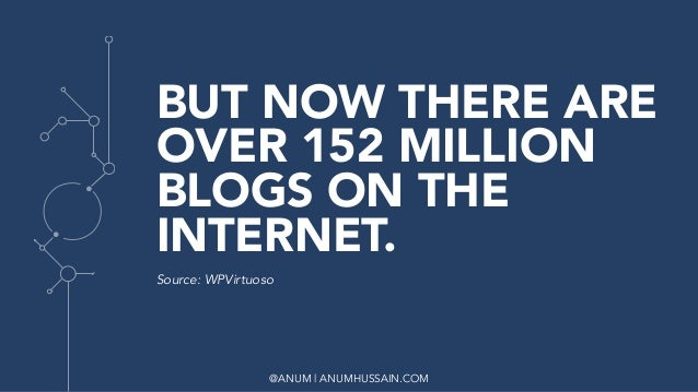 @ANUM | ANUMHUSSAIN.COM BUT NOW THERE ARE OVER 152 MILLION BLOGS ON THE INTERNET. Source: WPVirtuoso