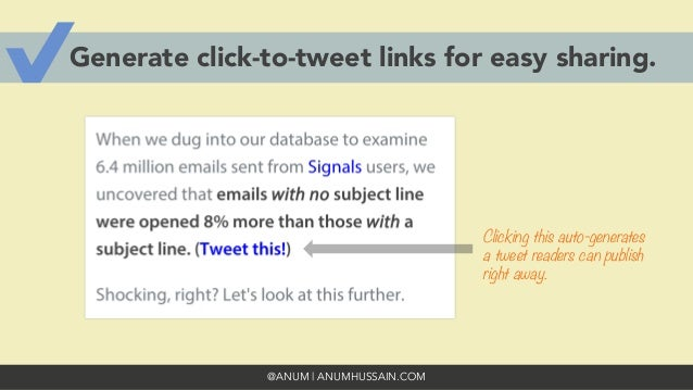 @ANUM | ANUMHUSSAIN.COM Generate click-to-tweet links for easy sharing. Clicking this auto-generates a tweet readers can p...