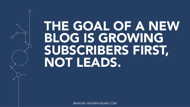 @ANUM | ANUMHUSSAIN.COM THE GOAL OF A NEW BLOG IS GROWING SUBSCRIBERS FIRST, NOT LEADS.